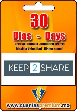 Cuenta Premium de KEEP2SHARE de 30 Dias