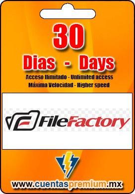 Cuenta Premium de FileFactory de 30 Dias